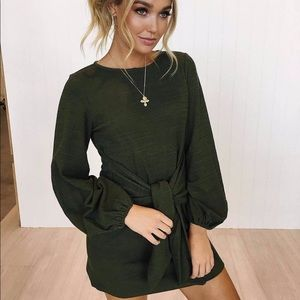 Army green tie front balloon sleeve dress